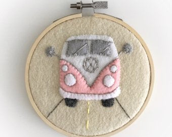 RETRO VW CAMPER VAN - HAND EMBROIDERED