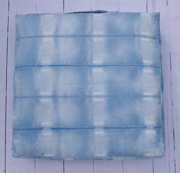 "24"" PREMIUM LINEN COTTON CANVAS SHIBORI SQUARE FLOOR POUF"