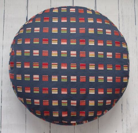 "24"" TAPESTRY SQUARES ROUND FLOOR POUF"