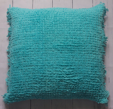 "24"" TURQUOISE VINTAGE CHENILLE FRINGE SQUARE FLOOR PILLOW"