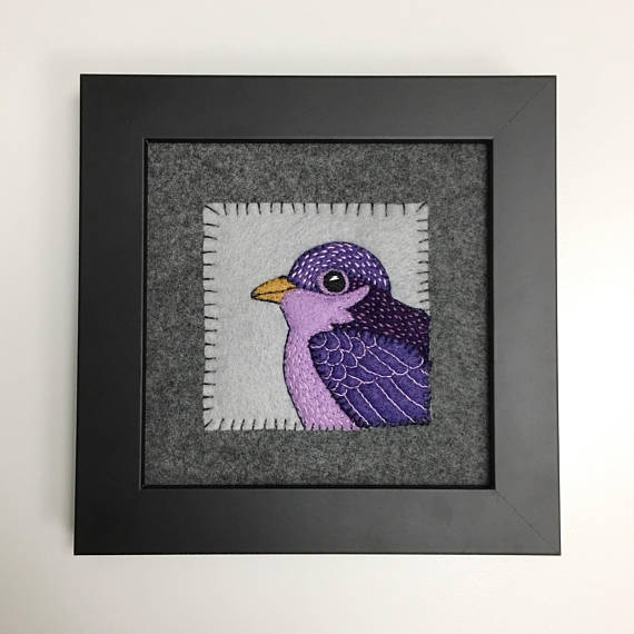 VIOLET SONGBIRD - HAND EMBROIDERED