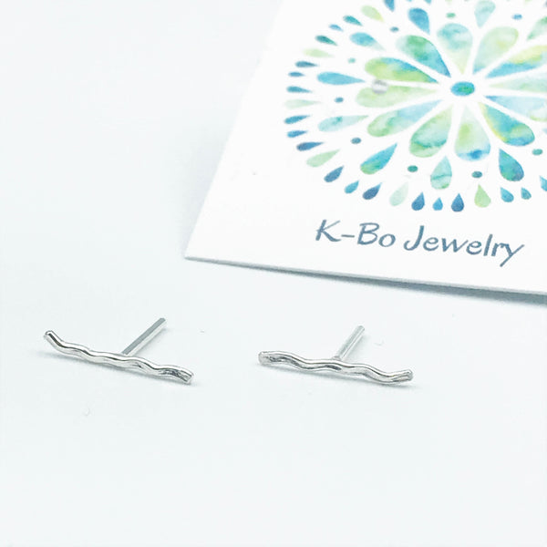 Sterling Silver Squiggle Line Stud Earrings