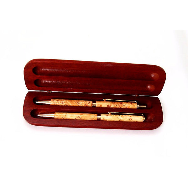 PEN AND PENCIL SET YELLOW CEDAR BURL WOOD - Side Street Studio - 1
