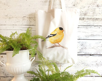 Golden Finch Tote Bag by Emma Pyle Art