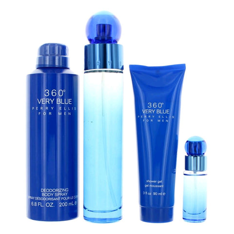 SET M 360 VERY BLUE PERRY ELLIS 4 PC (Free Shipping)