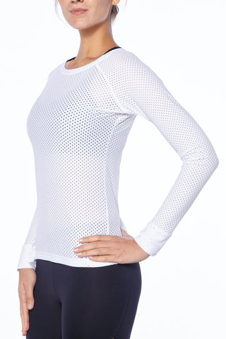 "alt=""White Mesh Long-Sleeved Shirt Gymwear Sports Women"""