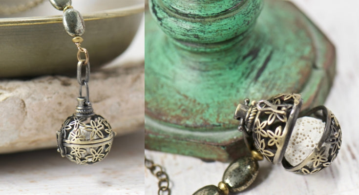 starflower essential oil diffuser necklace for the busy bohemian momma