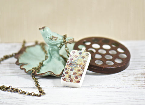 Chocolate Dots Domino Pendant Necklace
