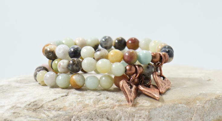 amazonite gemstone rustic heart beaded bracelet | bohemian jewelry