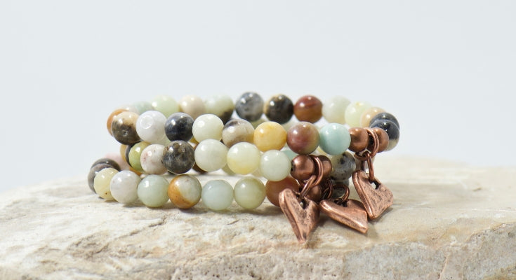 rustic heart black gold amazonite gemstone bracelet | bohemian jewelry for the free spirited momma