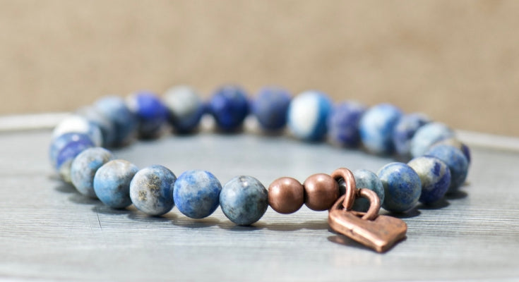 heart charm blue lace gemstone bracelet | bohemian jewelry for the free spirited momma