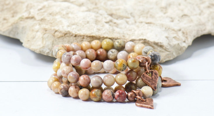 rustic heart earth tone agate gemstone bracelet | bohemian jewelry for the free spirited momma