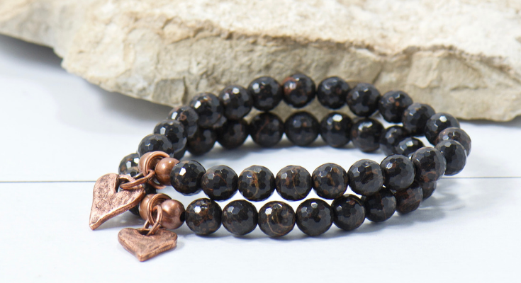 black obsidian gemstone copper bracelet for the bohemian style momma