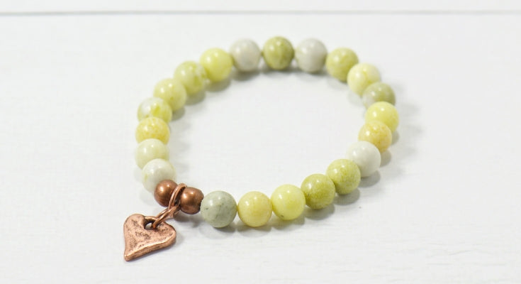 Rustic Heart Pale Green Serpentine Gemstone Bracelet | Bohemian jewelry