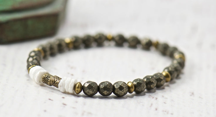 pyrite gemstone bracelet | bohemian jewelry for the free spirited momma