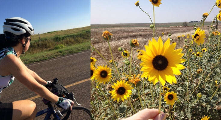 bicycle riding | sunflowers in Kansas | bohemian jewelry for the free spirited momma