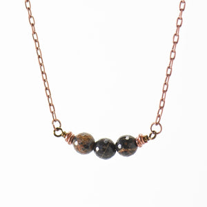 Black Obsidian Gemstone Copper Boho Necklace