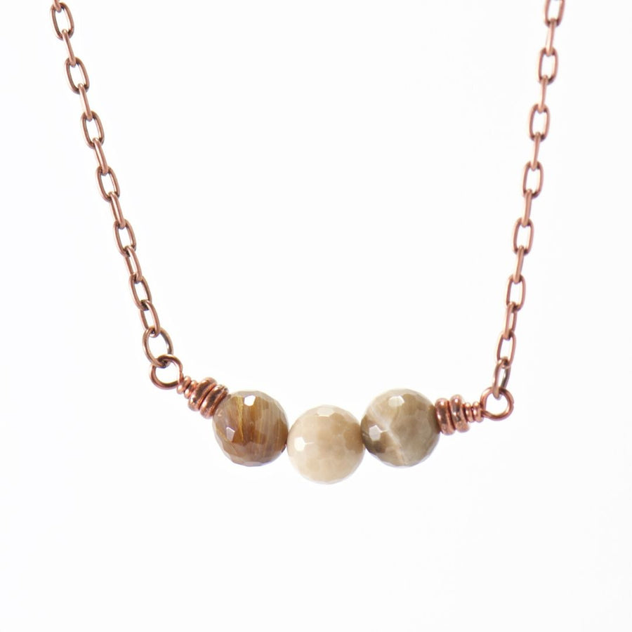 Simple Intentions Patient | Wood Opalite Gemstone Necklace