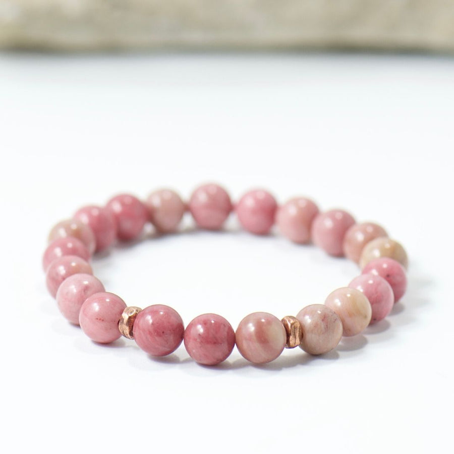 Pink Rhodonite Gemstone Stretch Boho Bracelet