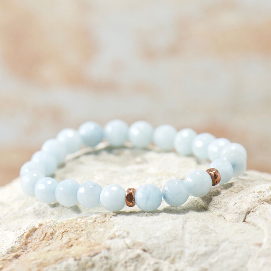 Simple Intentions Mindfulness | Aquamarine Agate Gemstone Bracelet