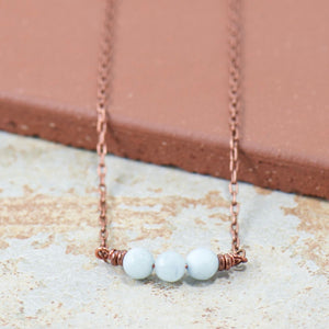 Simple Intentions Mindfulness | Aquamarine Agate Gemstone Necklace