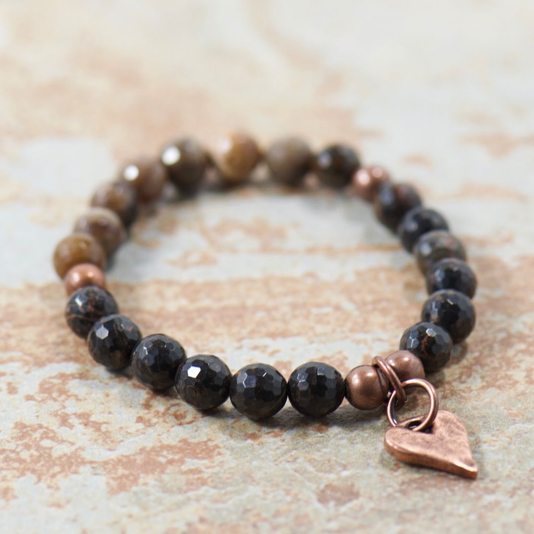 Rustic Heart Obsidian Brown Mix Bracelet