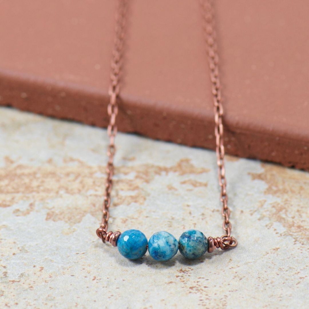 Blue Agate Gemstone Boho Copper Necklace