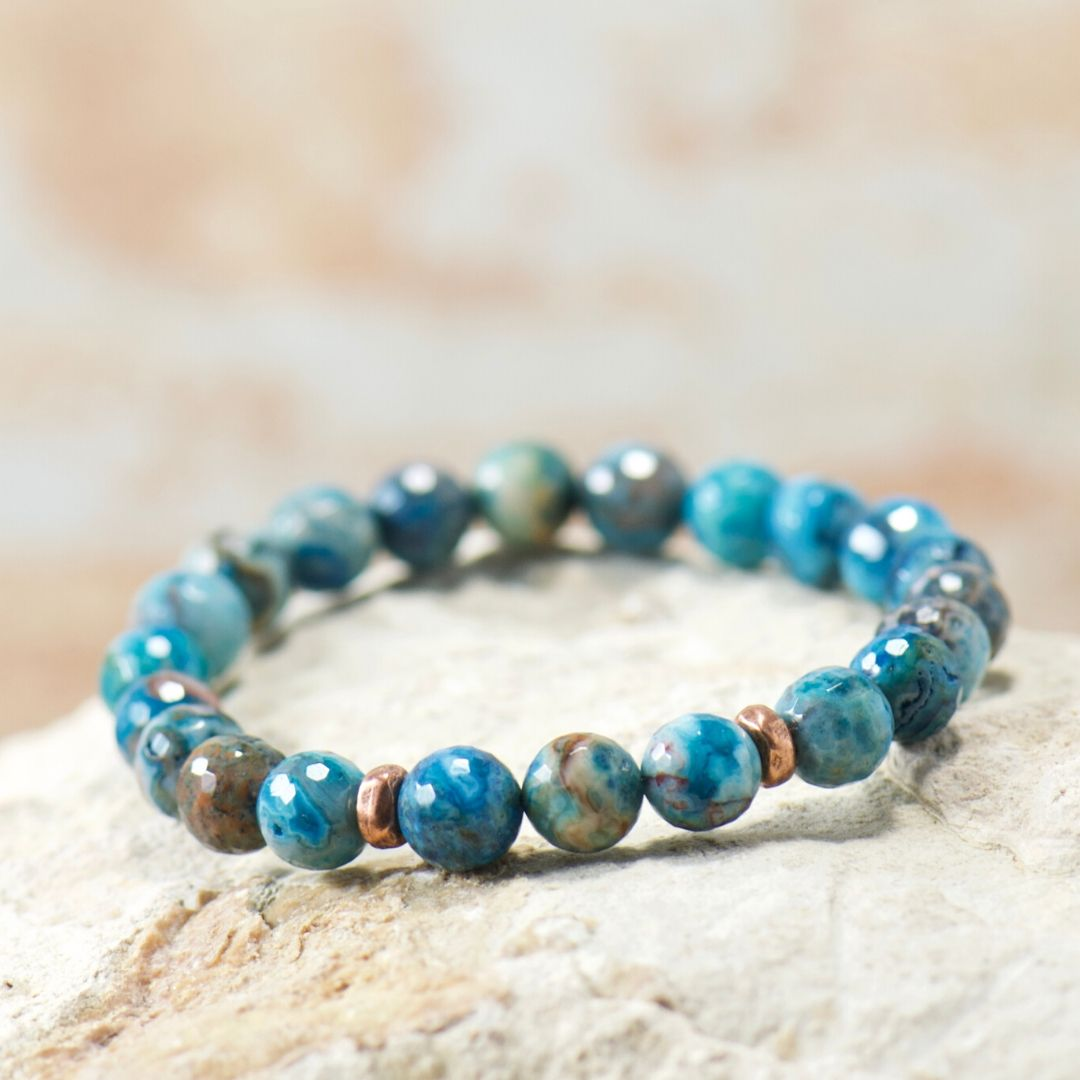 Blue Agate Gemstone Boho Copper Bracelet