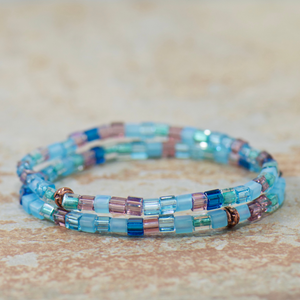 Caribbean Blue Cube Beaded Bracelet