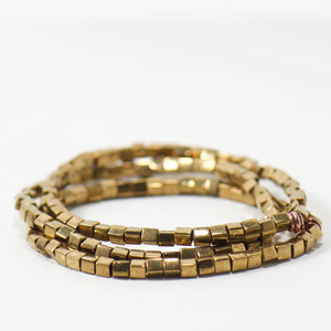Brass Cube Beaded Bracelet