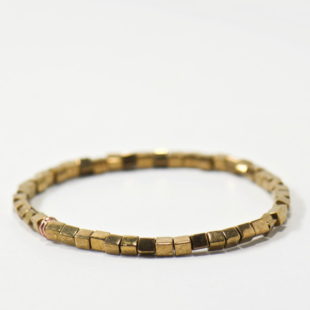LIMITED | Brass Cube Beaded Bracelet