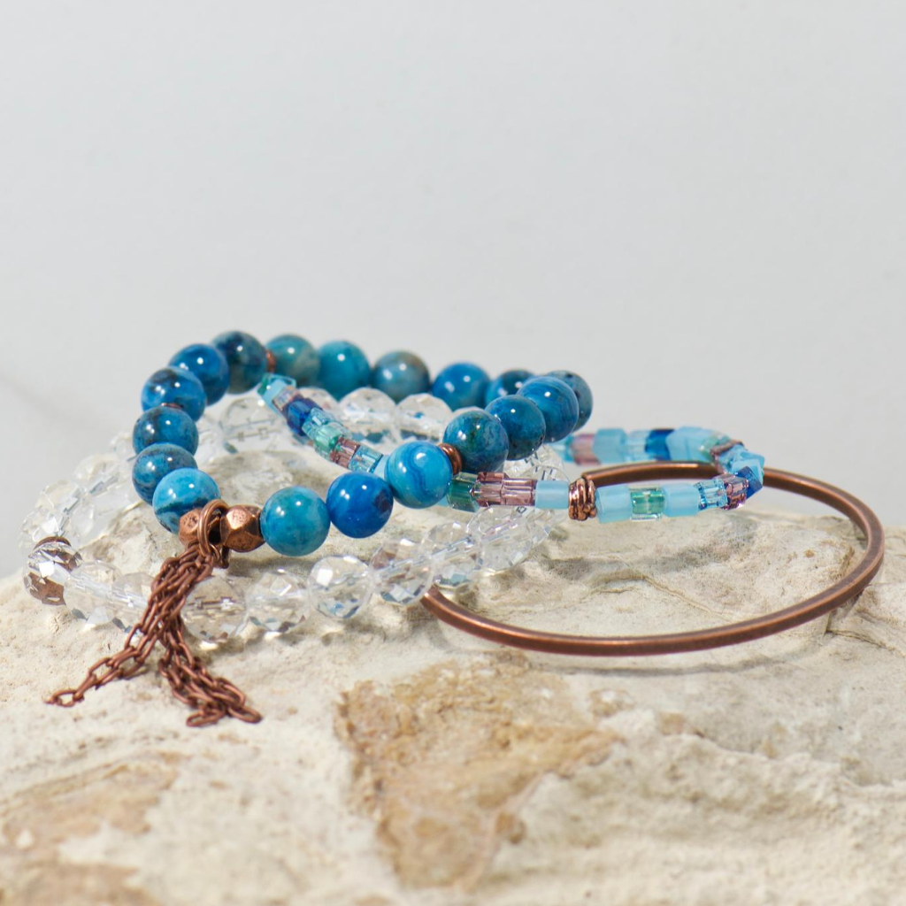Blue Skies Gemstone Bracelet Stack Set