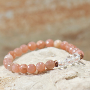Quartz Crystal | Peach Moonstone Bracelet