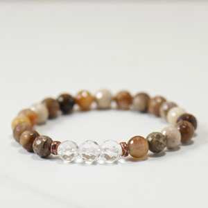 Quartz Crystal | Wood Opalite Bracelet