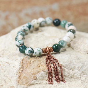 Chain Charm | Tree Agate Gemstone Bracelet