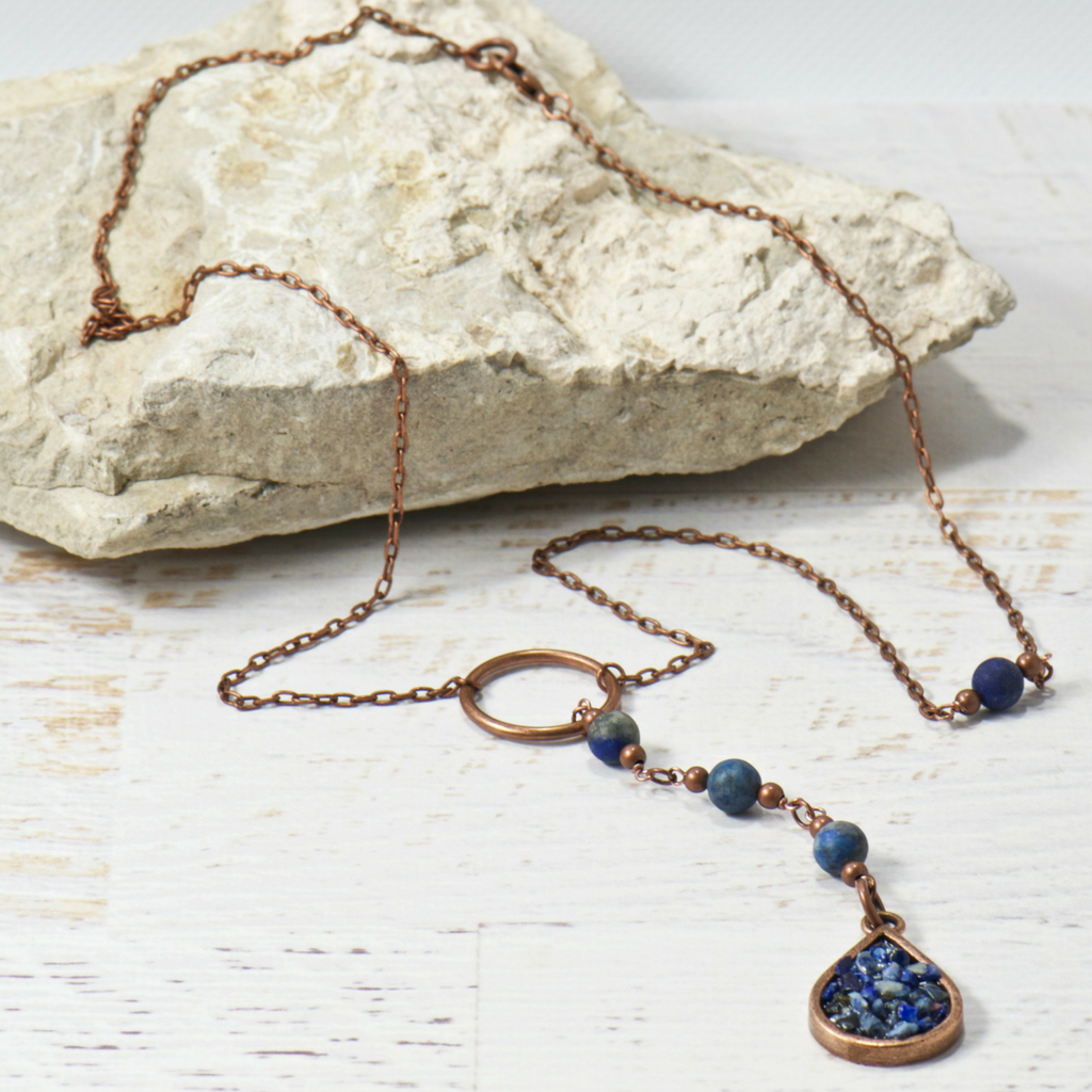 Harper Blue Agate Long Layering Bohemian Necklace