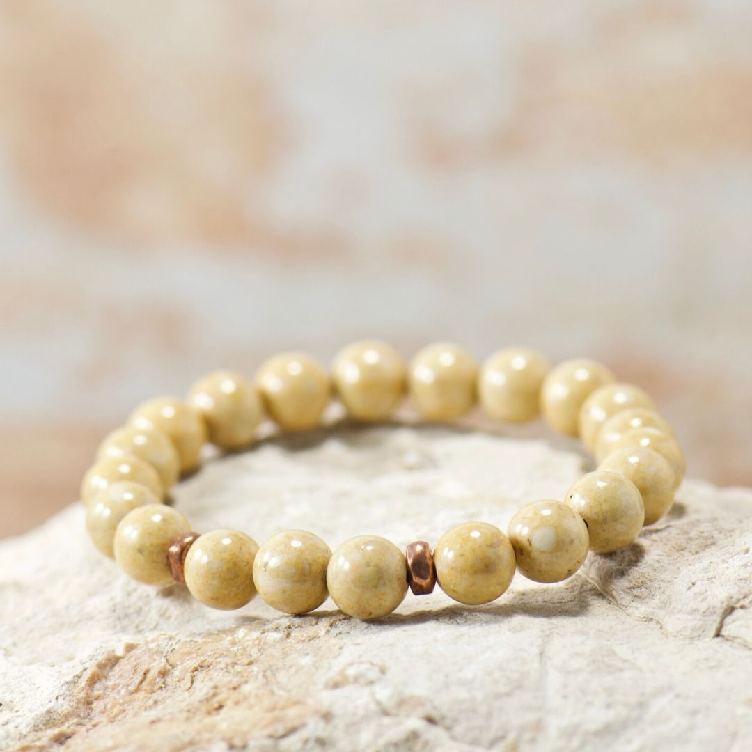 Simple Intentions Natural Flow | Light Brown Riverstone Gemstone Bracelet
