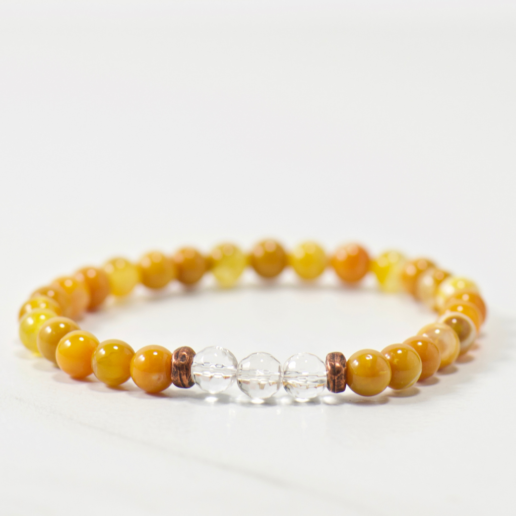 MINI Quartz Crystal | Saffron Fire Agate Bracelet