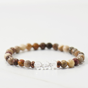 MINI Quartz Crystal | Chocolate Wood Opalite Bracelet