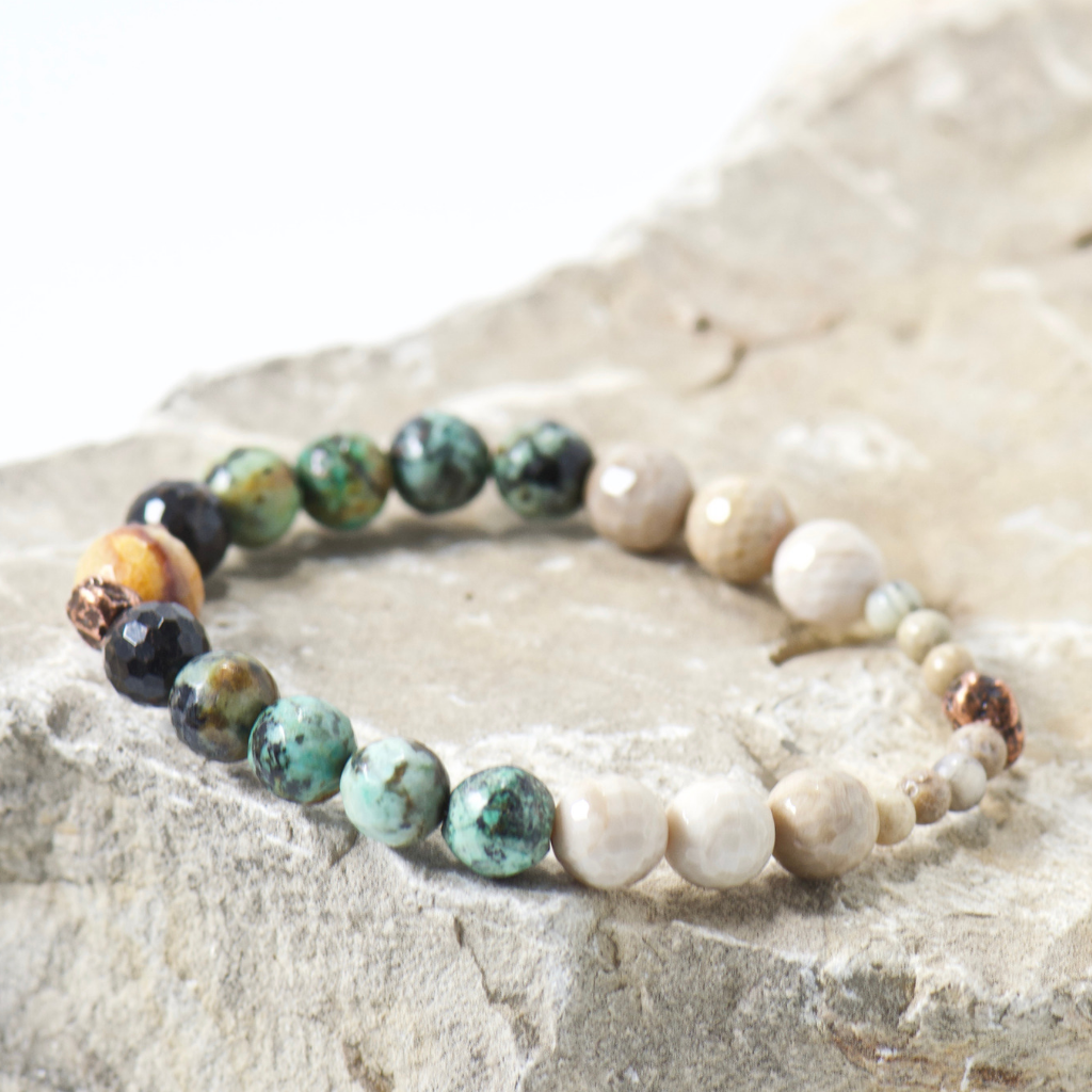 Nugget Sand Waves Gemstone Bracelet - Bohemian Jewelry