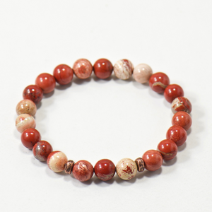 Red Jasper Gemstone Boho Stretch Bracelet