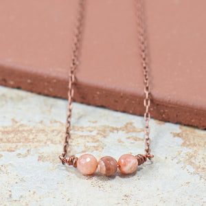 Peach Moonstone Gemstone Copper Boho Necklace