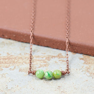 Green Olivine Copper Gemstone Boho Necklace