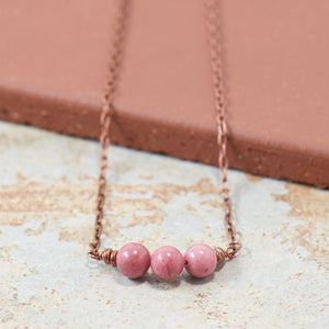 Pink Rhodonite Gemstone Copper Necklace