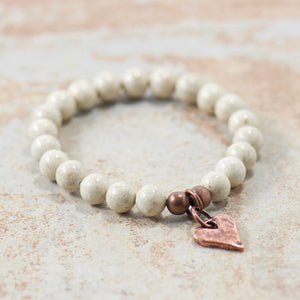 Rustic Heart Natural Riverstone Bracelet