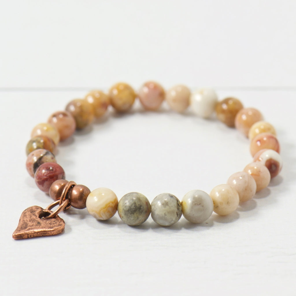 Rustic Heart Earth Agate Gemstone Bracelet | Bohemian Jewelry