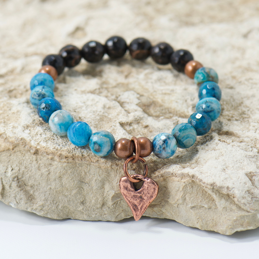 Rustic Heart Blue Black Mix Bracelet