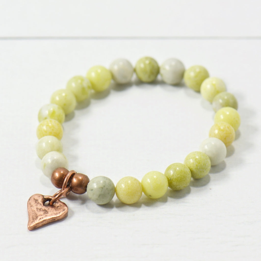 Rustic Heart Green Serpentine Gemstone Bracelet | Bohemian Jewelry