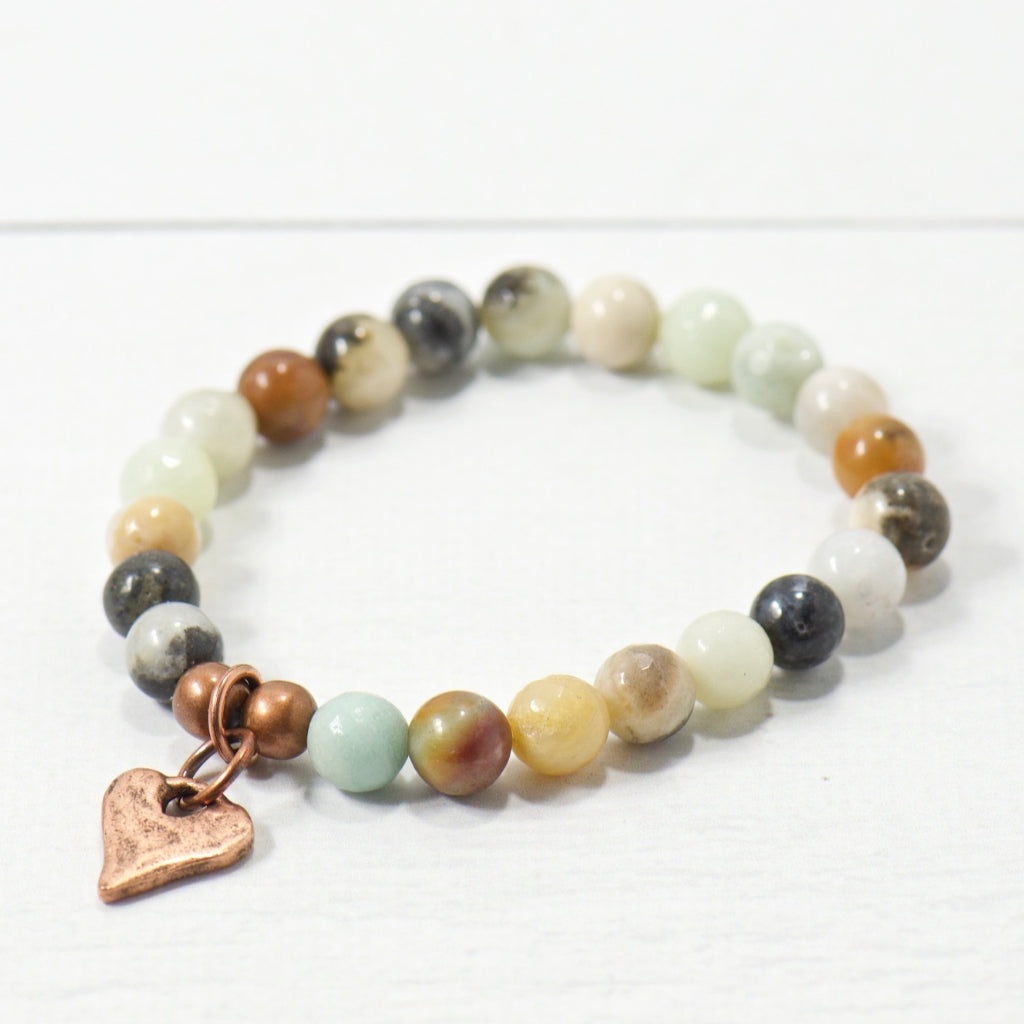 Rustic Heart Amazonite Gemstone Bracelet | Bohemian Jewelry