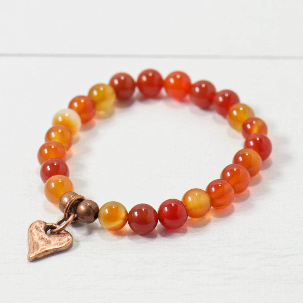 Rustic Heart Orange Carnelian Gemstone Bracelet | Bohemian Jewelry
